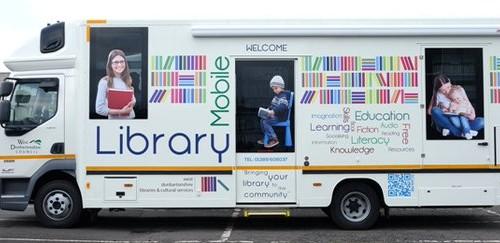 Pokretna knjižnica u West Dunbartonshireu, Škotska.